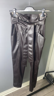 Access Fashion Brown PU Leather Trousers