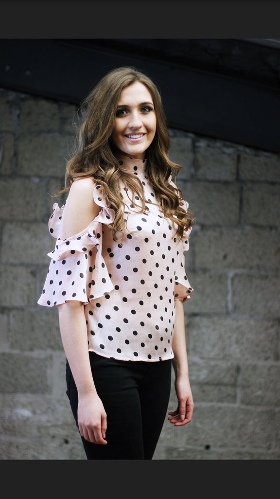 Pink Polka Dot Cold Shoulder Top