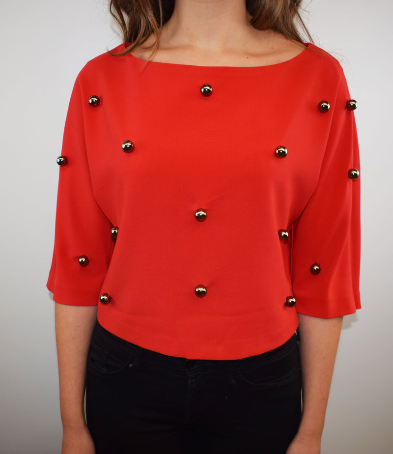 Access Fashion Red Cropped Blouse with Metallic Pearls