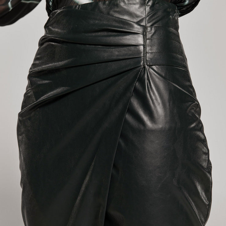 Access Fashion PU Leather Wrap Skirt, W0-6023