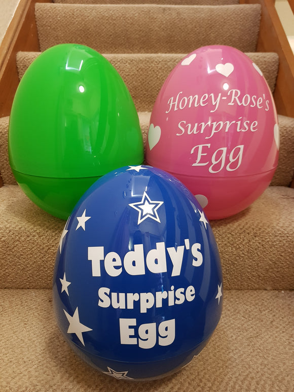 Giant Personalised Surprise Egg 14'' 36cm Kids Birthday Present Easter Egg - Blue Standard Design