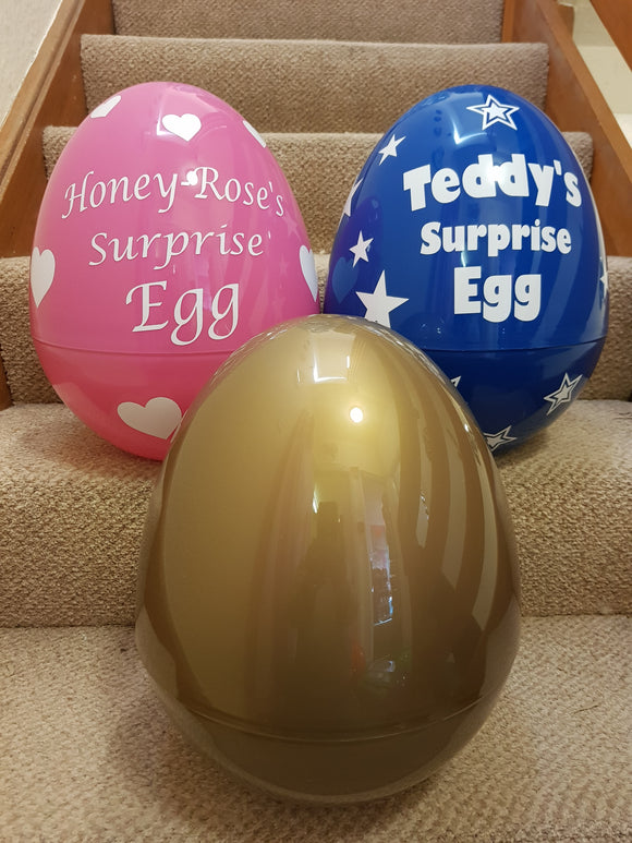 Giant Personalised Surprise Egg 14'' 36cm Kids Birthday Present Easter Egg - Gold Standard Design