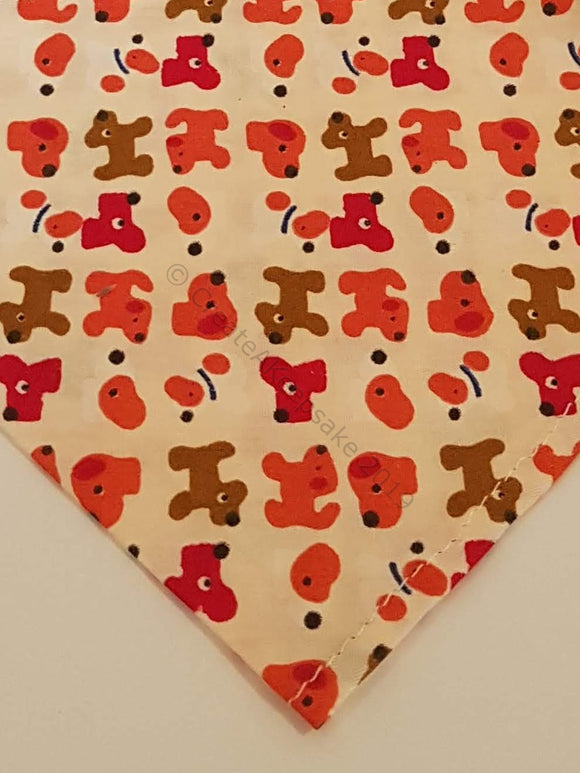 Personalised Pet Bandana - cream bandana with red dogs pattern
