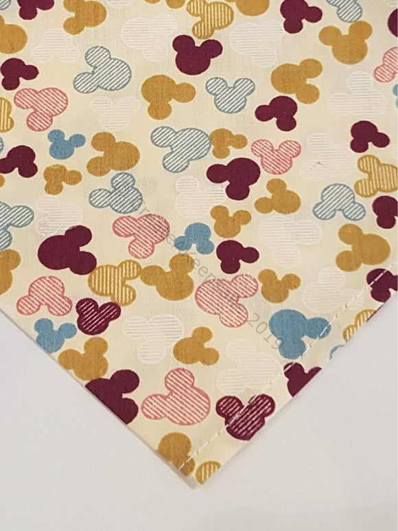 Personalised Pet Bandana - cream bandana with Mickey Mouse-like pattern