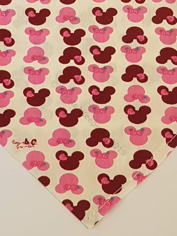 Personalised Pet Bandana - cream bandana with Minnie Mouse-like pattern
