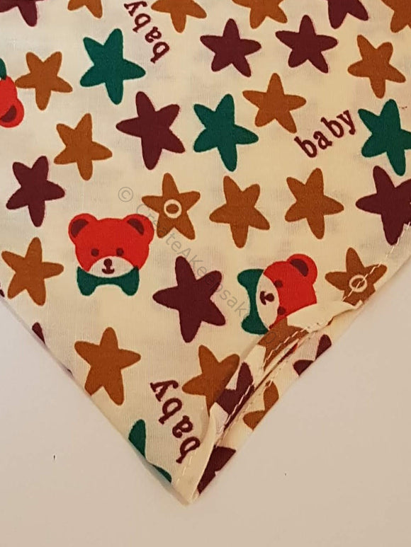 Personalised Pet Bandana - cream bandana with big stars and baby teddy pattern