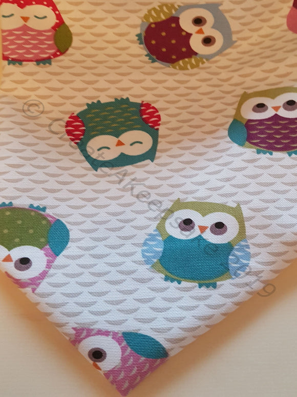 Personalised Pet Bandana - cotton premium quality - multicoloured owls