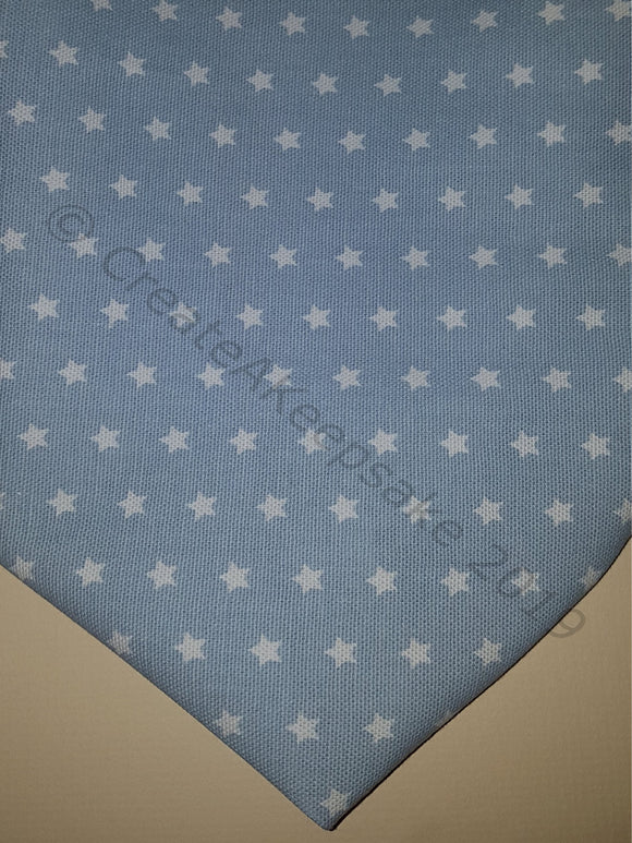 Personalised Pet Bandana - cotton premium quality - light blue with white stars