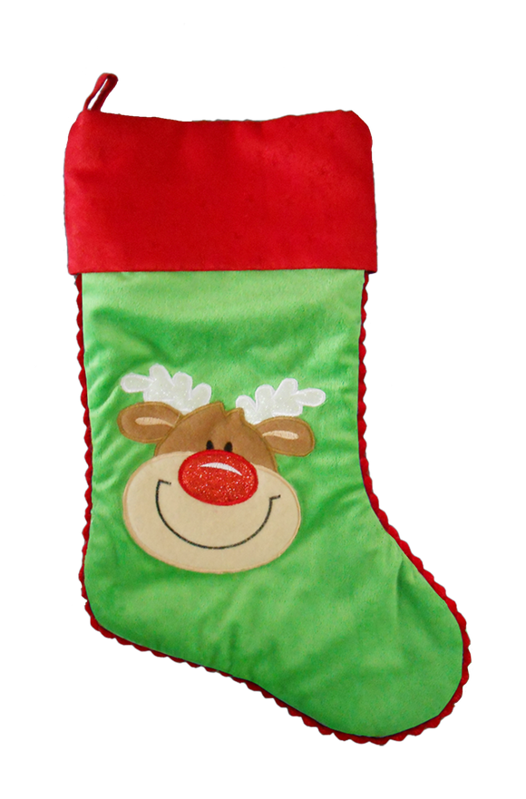 Christmas - Green Reindeer Stocking