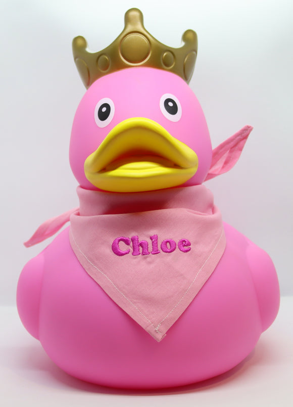 XXL Pink Rubber Duck with Crown and Embroidered Bandana, 25 cm By Lilalu