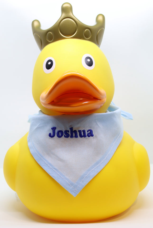 XXL Yellow Rubber Duck with Crown and Embroidered Bandana, 25 cm By Lilalu