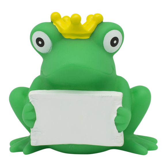 Personalised Frog Rubber Duck with Greeting Sign By Lilalu
