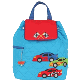 Racing Car Styled Children's Quilted Personalised Backpack by Stephen Joseph