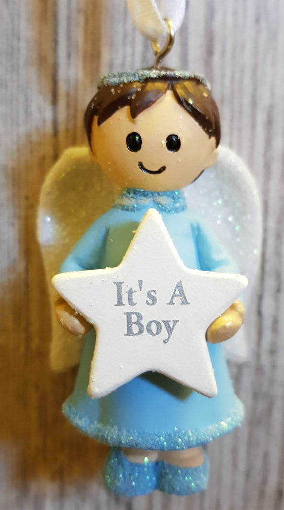 Personalised Name Blue Hanging Angel - It's a Boy