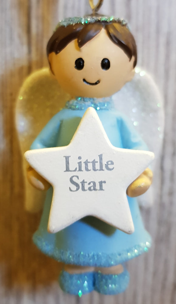 Personalised Name Blue Hanging Angel - Little Star