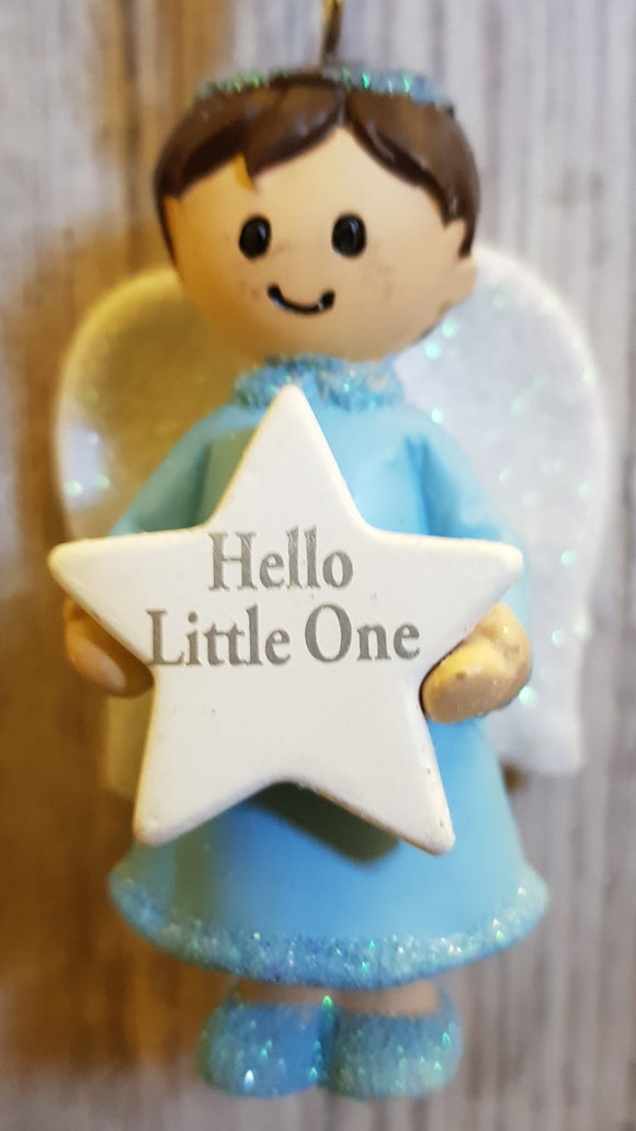 Personalised Name Blue Hanging Angel - Hello Little One