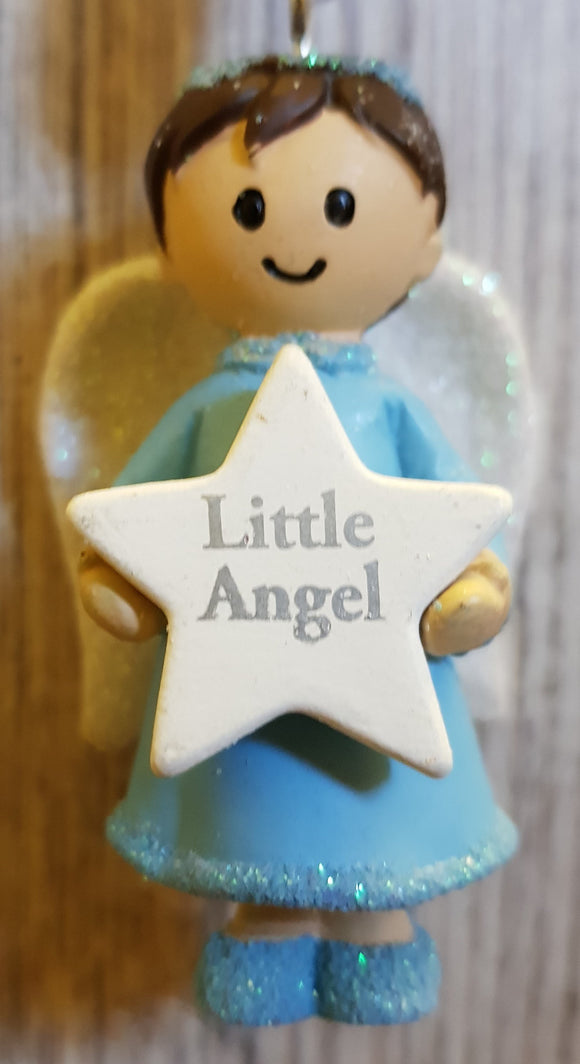 Personalised Name Blue Hanging Angel - Little Angel