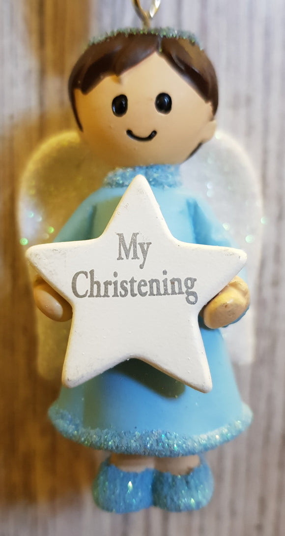 Personalised Name Blue Hanging Angel - My Christening