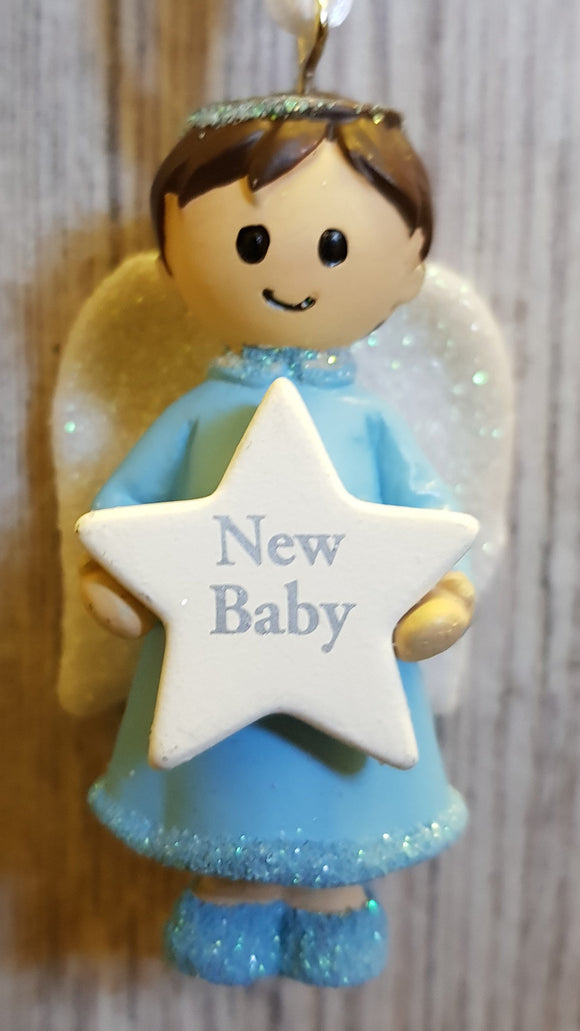 Personalised Name Blue Hanging Angel - New Baby