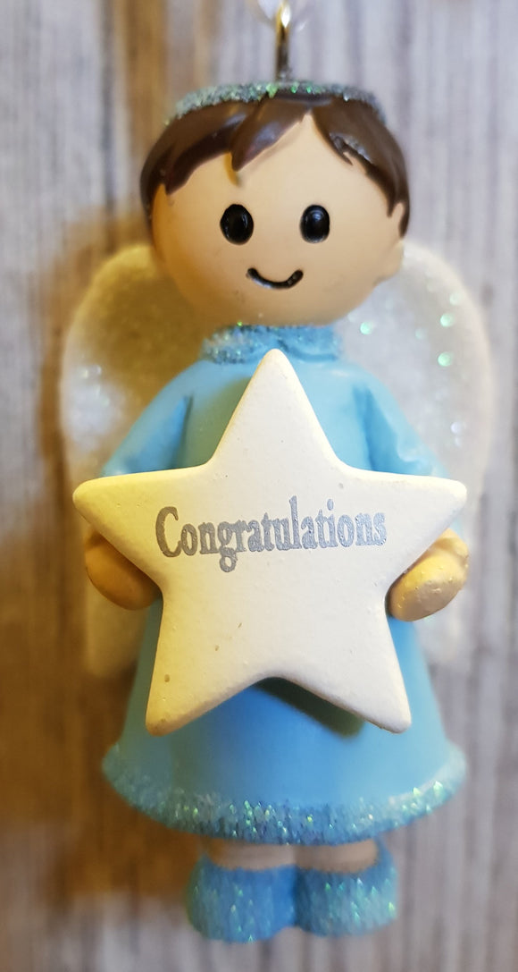 Personalised Name Blue Hanging Angel - Congratulations