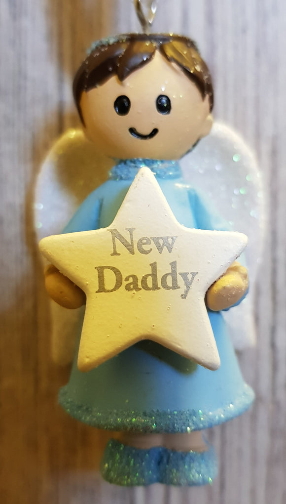 Personalised Name Blue Hanging Angel - New Daddy