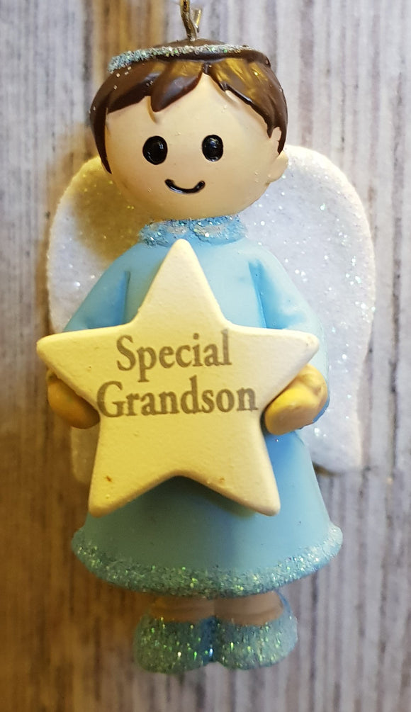 Personalised Name Blue Hanging Angel - Special Grandson