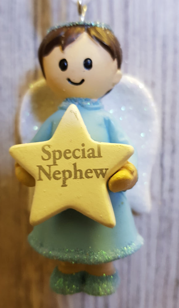 Personalised Name Blue Hanging Angel - Special Nephew