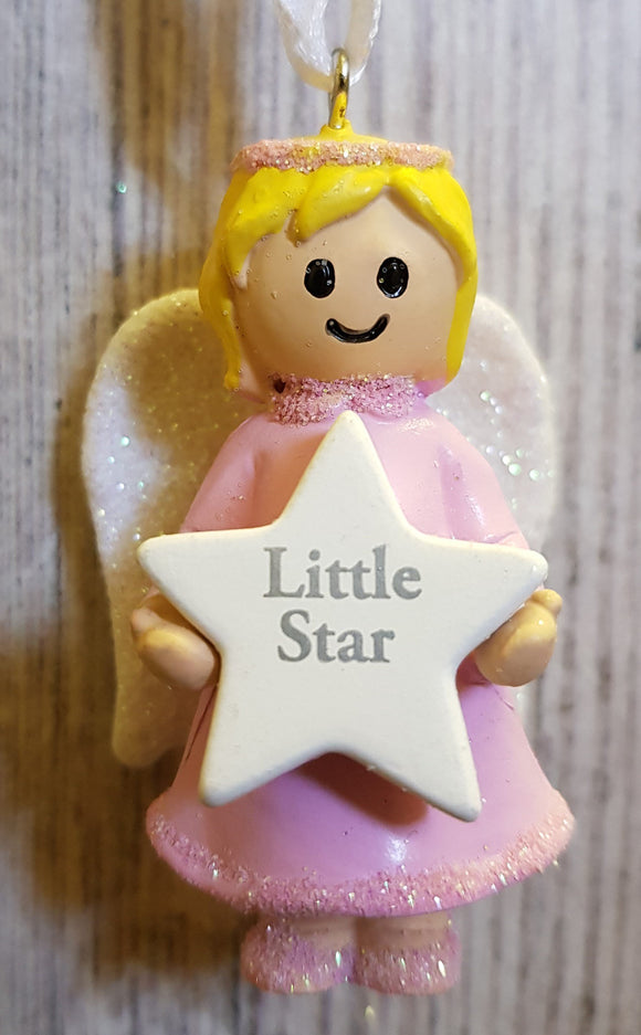 Personalised Name Pink Hanging Angel - Little Star