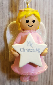 Personalised Name Pink Hanging Angel - My Christening