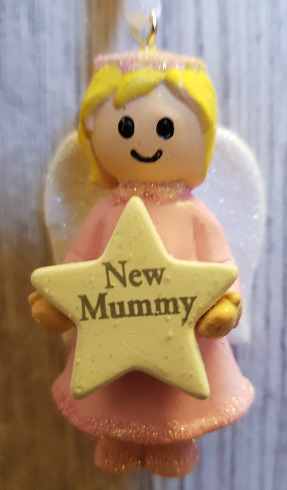 Personalised Name Pink Hanging Angel - New Mummy