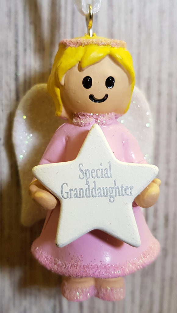 Personalised Name Pink Hanging Angel - Special Granddaughter