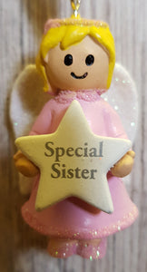 Personalised Name Pink Hanging Angel - Special Sister