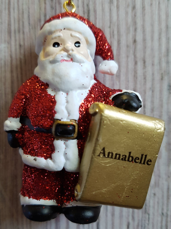 Personalised Name Christmas Santa - Xmas Tree Decorations - Annabelle