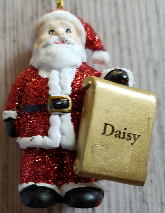 Personalised Name Christmas Santa - Xmas Tree Decorations - Daisy