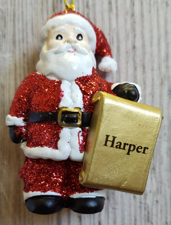 Personalised Name Christmas Santa - Xmas Tree Decorations - Harper