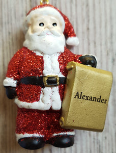 Personalised Name Christmas Santa - Xmas Tree Decorations - Alexander