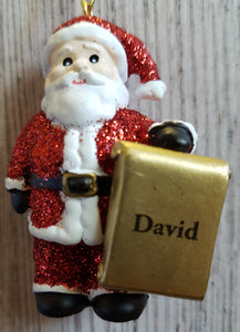 Personalised Name Christmas Santa - Xmas Tree Decorations - David
