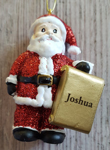 Personalised Name Christmas Santa - Xmas Tree Decorations - Joshua