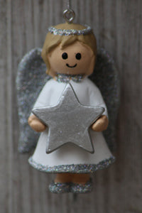 Personalised Name Christmas Angel - Silver or Gold Xmas Tree Decorations - Any Name or Phrase - Silver Design