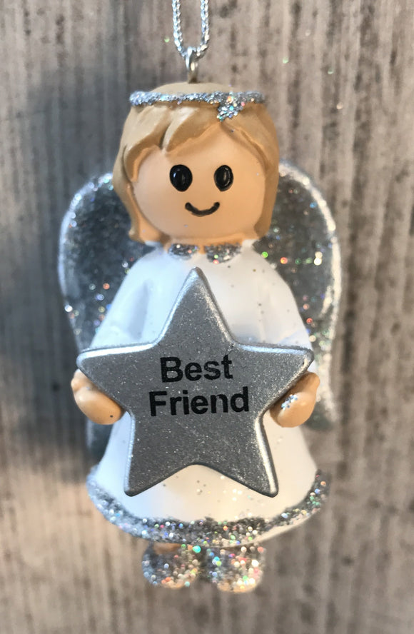 Personalised Name Christmas Angel - Silver or Gold Xmas Tree Decorations - Best Friend