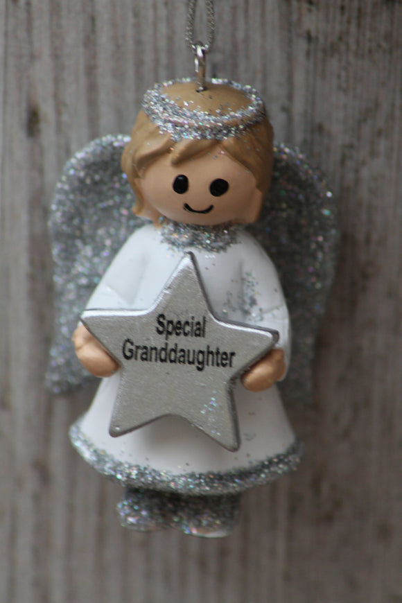 Personalised Name Christmas Angel - Silver or Gold Xmas Tree Decorations - Special Granddaughter