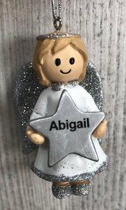 Personalised Name Christmas Angel - Silver or Gold Xmas Tree Decorations - Abigail