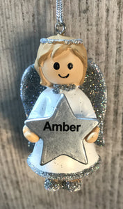 Personalised Name Christmas Angel - Silver or Gold Xmas Tree Decorations - Amber
