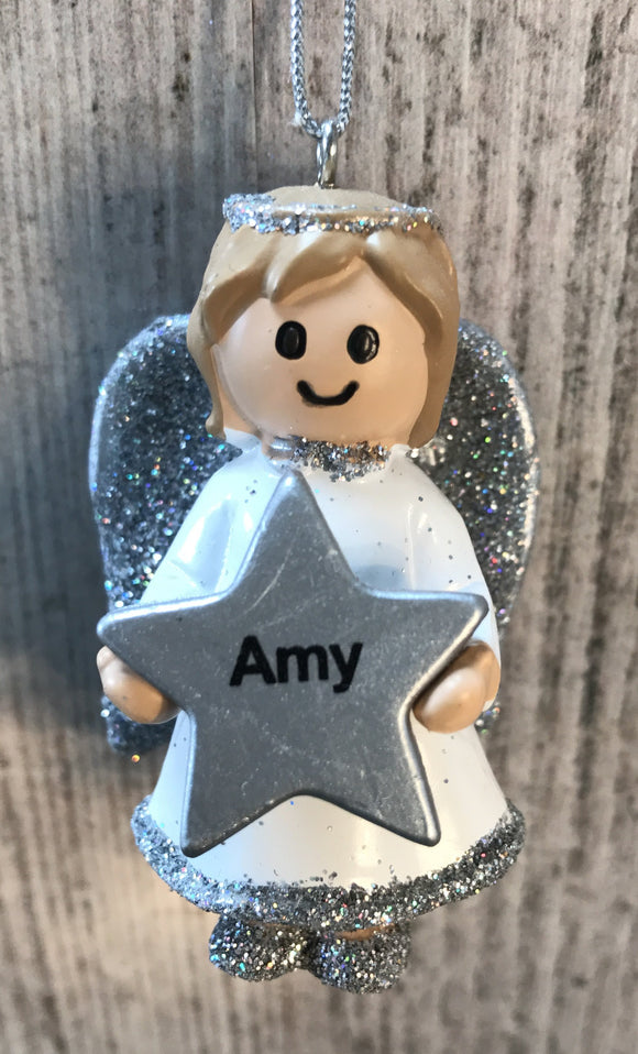 Personalised Name Christmas Angel - Silver or Gold Xmas Tree Decorations - Amy