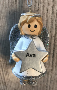 Personalised Name Christmas Angel - Silver or Gold Xmas Tree Decorations - Ava