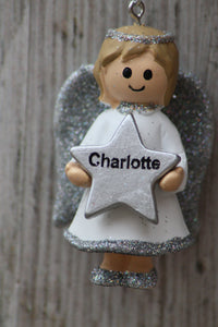 Personalised Name Christmas Angel - Silver or Gold Xmas Tree Decorations - Charlotte