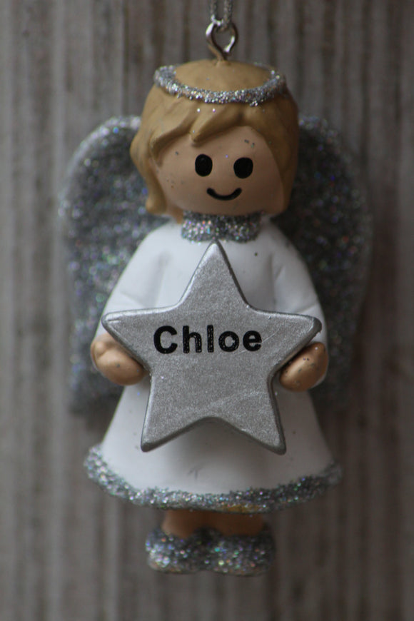 Personalised Name Christmas Angel - Silver or Gold Xmas Tree Decorations - Chloe