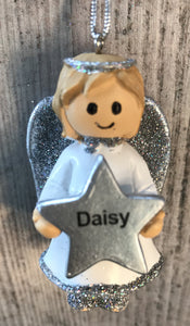 Personalised Name Christmas Angel - Silver or Gold Xmas Tree Decorations - Daisy