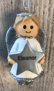 Personalised Name Christmas Angel - Silver or Gold Xmas Tree Decorations - Eleanor
