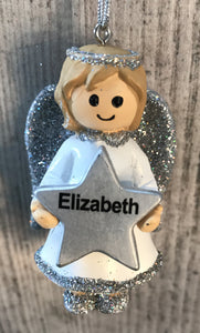 Personalised Name Christmas Angel - Silver or Gold Xmas Tree Decorations - Elizabeth
